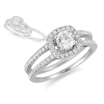 14K WG Diamond Semi Mount Eng Ring in Halo Design and Designed with Wedding Band Insert