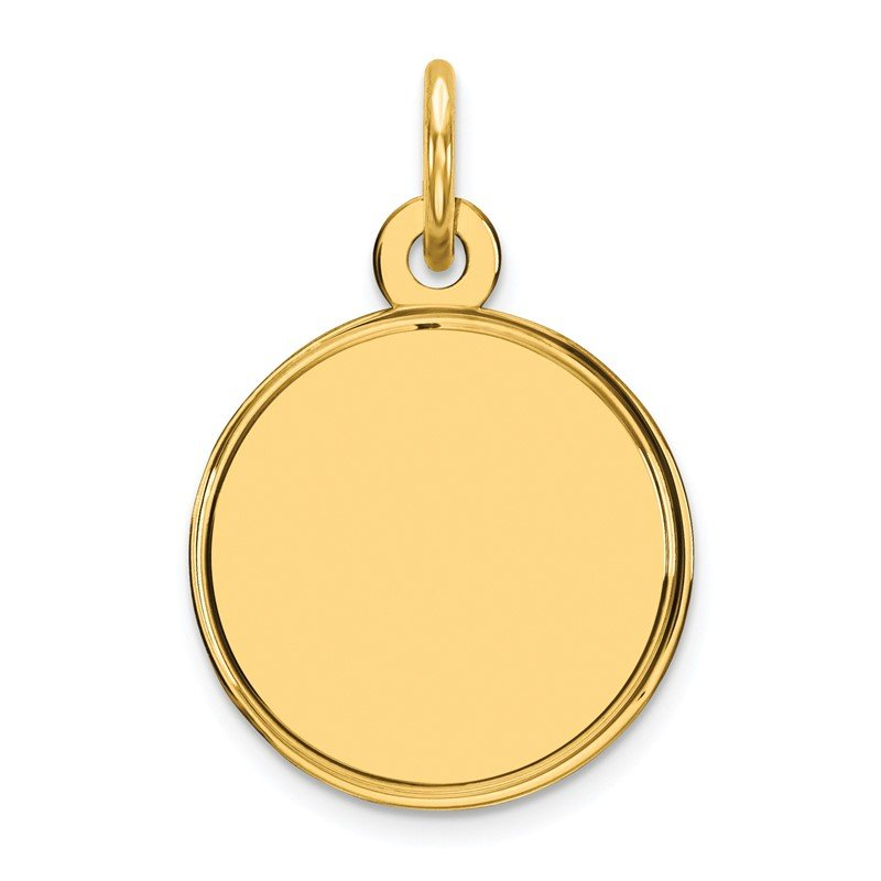 Quality Gold Sterling Silver GP Engraveable Round Polished Disc Charm