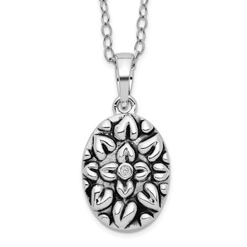 Sterling Silver CZ Antiqued Flower Ash Holder 18in Necklace