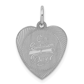 Sterling Silver Rhodium-plated On Graduation Day Heart Disc Charm