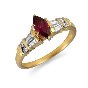 18K YG Diamond and Garnet Engagement Ring