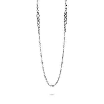 Classic Chain Knife Edge Long Necklace in Silver