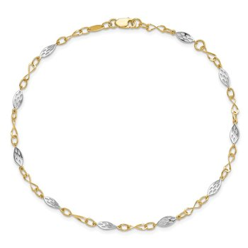 Leslie's 14k Two-tone Polished with 1in ext. Anklet