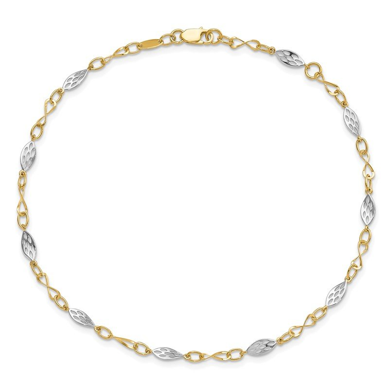 Leslie's Leslie's 14K Two-tone Polished with 1in ext. Anklet