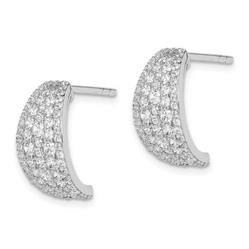 Sterling Silver Rhodium-plated Pave CZ Post Hoop Earrings
