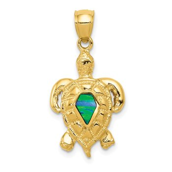 14k Polished Created Blue Opal Turtle Pendant