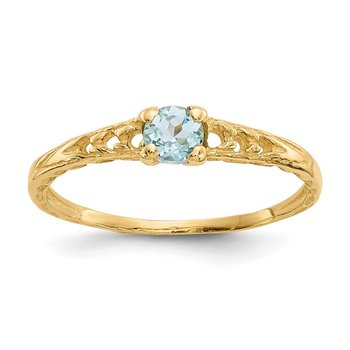 14k Madi K 3mm Aquamarine Birthstone Baby Ring