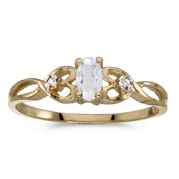 14k Yellow Gold Oval White Topaz And Diamond Ring