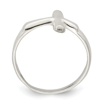 Sterling Silver Horizontal Tiny Freeform Cross Ring