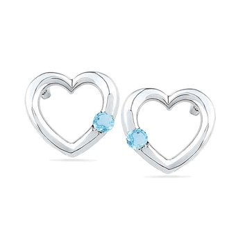 10kt White Gold Womens Round Lab-Created Blue Topaz Heart Love Earrings 1/8 Cttw