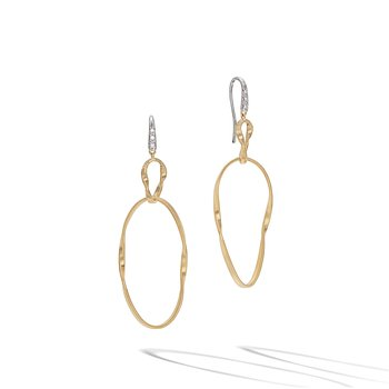 Marrakech Onde Yellow Gold and Diamond Double Drop Hook Earring