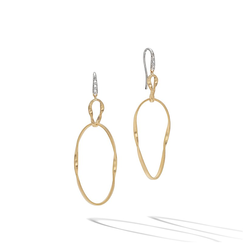 Marco Bicego Marrakech Onde Yellow Gold and Diamond Double Drop Hook Earring