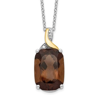SS & 14k True Two-tone Accent Smoky Quartz & Diamond Necklace