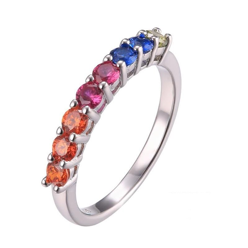 LARUS Jewelry Simple Rainbow Ring