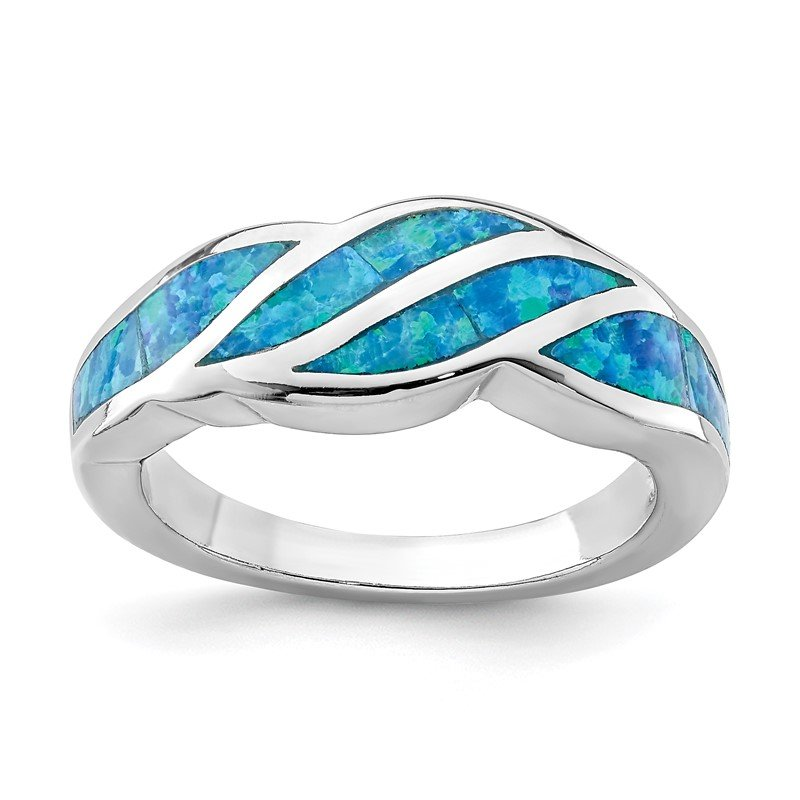 Quality Gold Sterling Silver Rhodium-plated Created Blue Opal Inlay Ring
