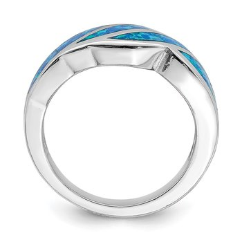 Sterling Silver Rhodium-plated Created Blue Opal Inlay Ring