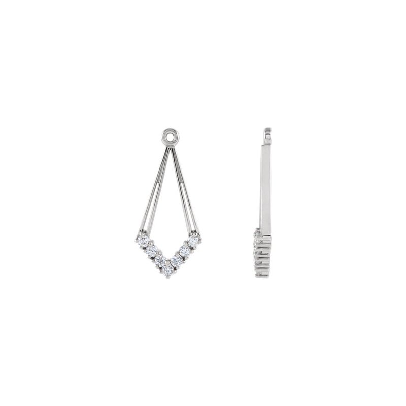 14K White 1/4 CTW Diamond Earring Jackets