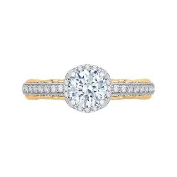 18K Two-Tone Gold Round Diamond Engagement Ring with Euro Shank (Semi-Mount)