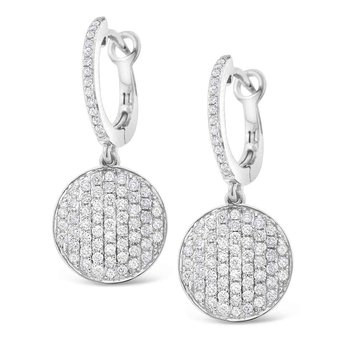 Diamond Pave Disc Earrings in 14K White Gold with 144 Diamonds Weighing  .80ct tw