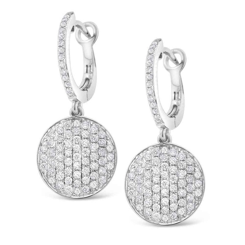 Kc Designs Diamond Pave Disc Earrings In 14k White Gold With 144 Diamonds Weighing 80ct