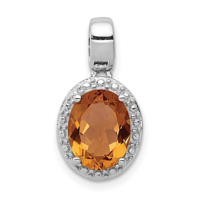 Quality Gold Sterling Silver Rhodium-plated with Whiskey Quartz Oval Pendant