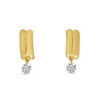 14K Yellow Gold Double Row Half Huggie Diamond Earrings
