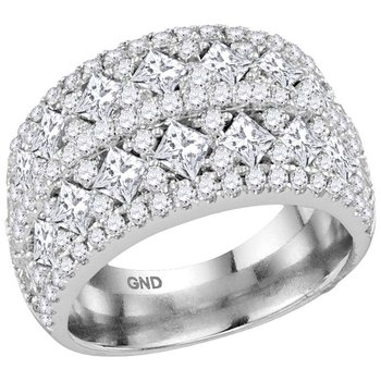 14kt White Gold Womens Princess Diamond Band Ring 3.00 Cttw