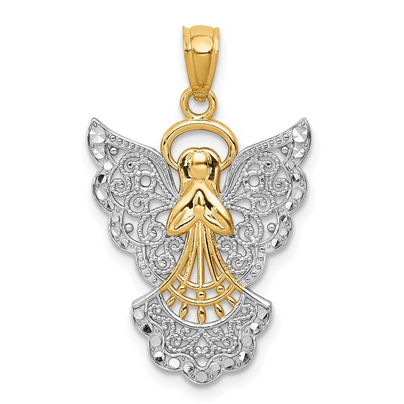Quality Gold 14k w/Rhodium Filigree Angel Pendant