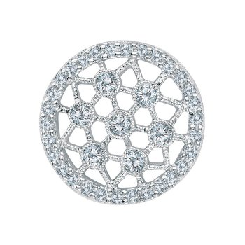 14K White Gold Diamond Fashion Disc Pendant
