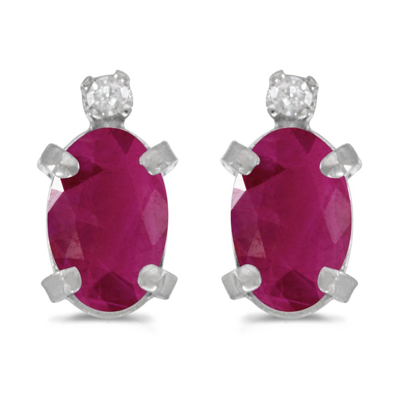 Color Merchants 14k White Gold Oval Ruby And Diamond Earrings