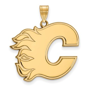 Gold-Plated Sterling Silver Calgary Flames NHL Pendant