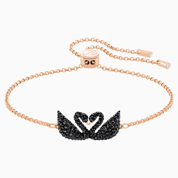 Swarovski Iconic Swan Bracelet, Black, Rose-gold tone plated