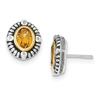 Sterling Silver w/14k Citrine w/Diamond Post Earrings