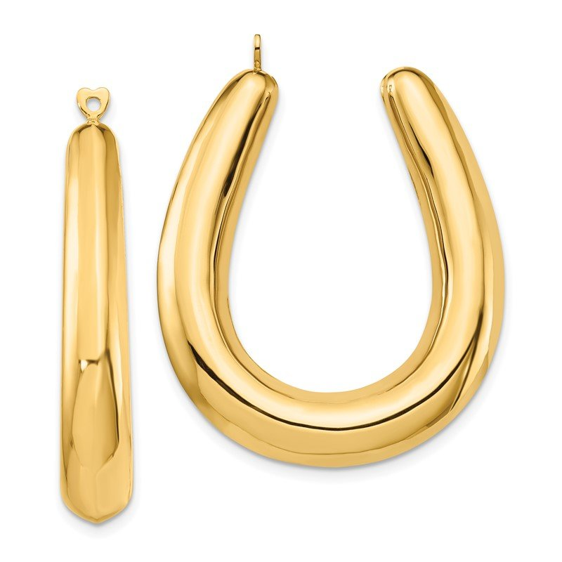 Quality Gold 14k Polished Hollow Hoop Earring Jackets