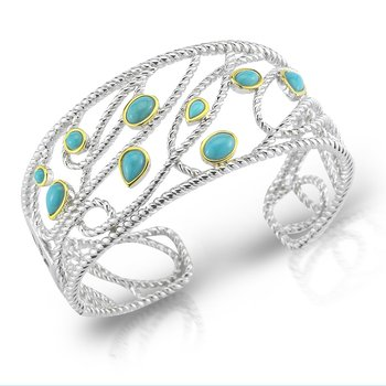 Sterling Silver and 14K/Y Turquoise Cuff.