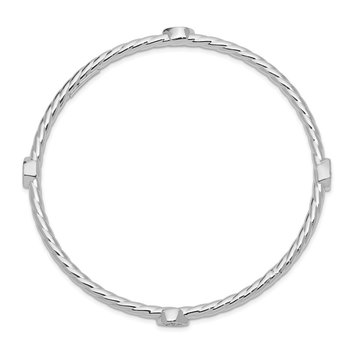 Sterling Silver Rhod-plated Polished/Textured w/CZ Slip-on Bangle