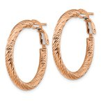 Quality Gold 14k 3x20mm Rose Gold Diamond-cut Round Omega Back Hoop Earrings