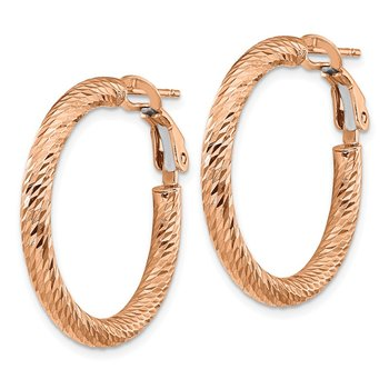 14k 3x20mm Rose Gold Diamond-cut Round Omega Back Hoop Earrings