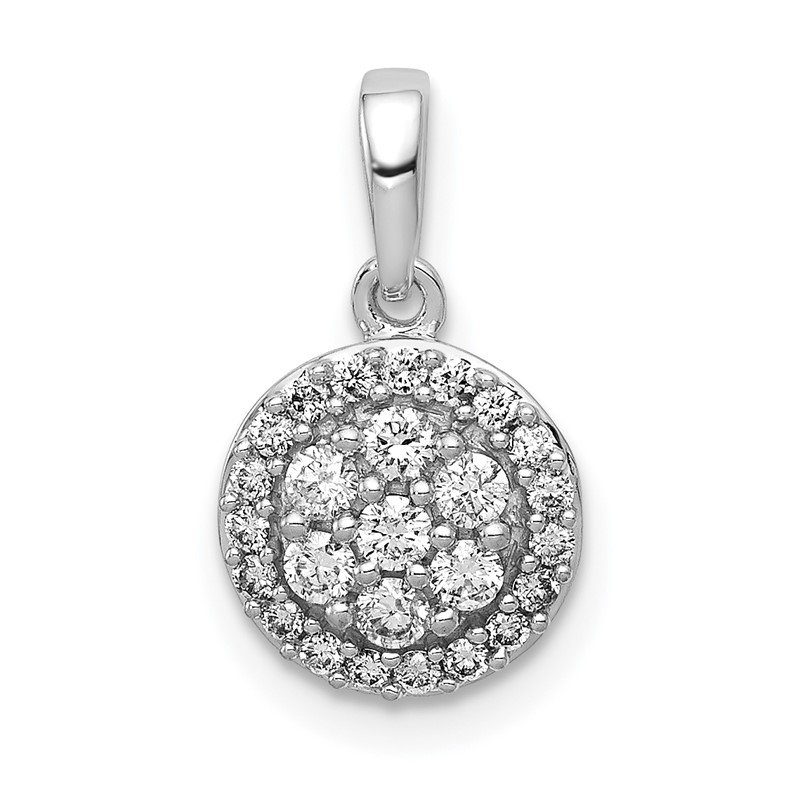 Quality Gold 14k White Gold 1/4ct. Diamond Round Halo Cluster Pendant