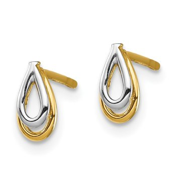 14K & White Rhodium Tear Drop Post Earrings