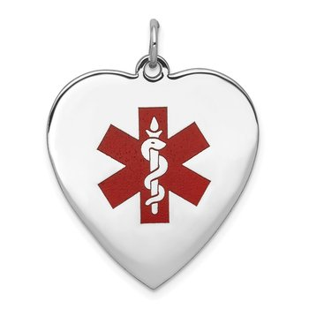 14k WG Heart-Shaped Enameled Medical Jewelry Pendant