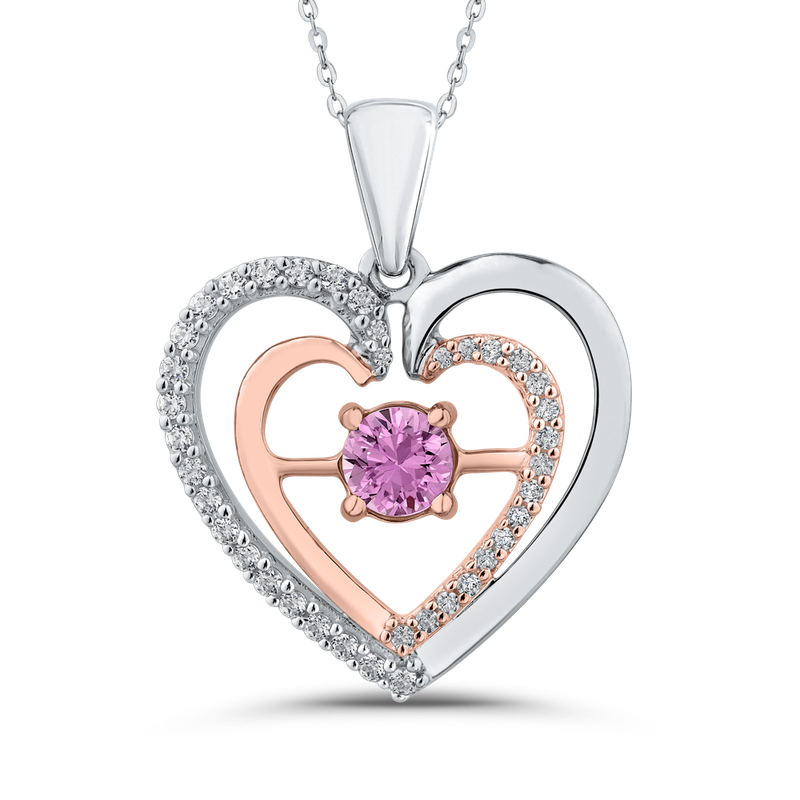 1/5 ct Diamond & 5/8 ct Pink Sapphire Double Heart Pendant with Chain