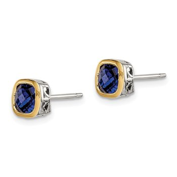 Sterling Silver w/ 14K Accent Created Sapphire Square Stud Earrings