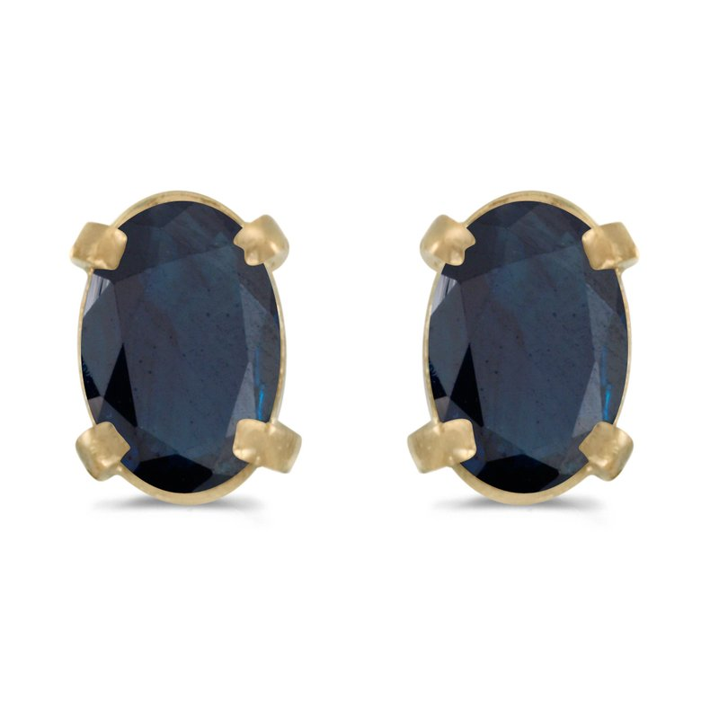Color Merchants 14k Yellow Gold Oval Sapphire Earrings