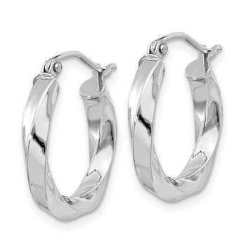 Sterling Silver Rhodium-plated 3x18mmTwisted Hoop Earrings
