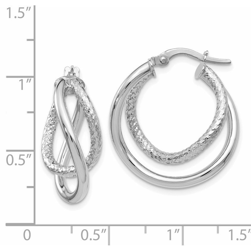 Leslie's Leslie's 10K White Gold Polished and Textured Fancy Hoop Earrings