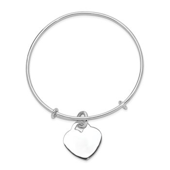 Sterling Silver Rhodium-plated Engraveable Heart Bangle