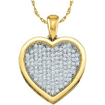 10kt Yellow Gold Womens Round Diamond Heart Cluster Pendant 1.00 Cttw