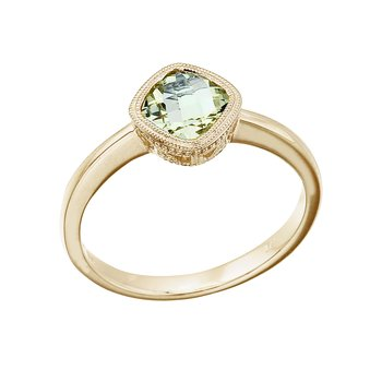 14K Yellow Gold 6 mm Cushion Green Amethyst Ring