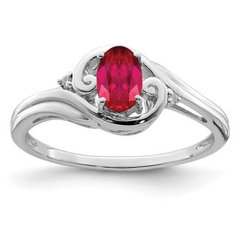 Sterling Silver Rhodium Plated Diamond & Ruby Ring